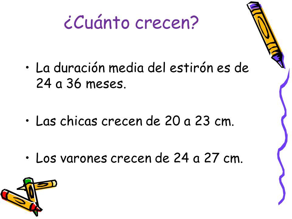 ¿Cuánto crecen? La duración media del estirón es de 24 a 36 meses. Las chicas crecen de 20 a 23 cm. Los varones crecen de 24 a 27 cm.
