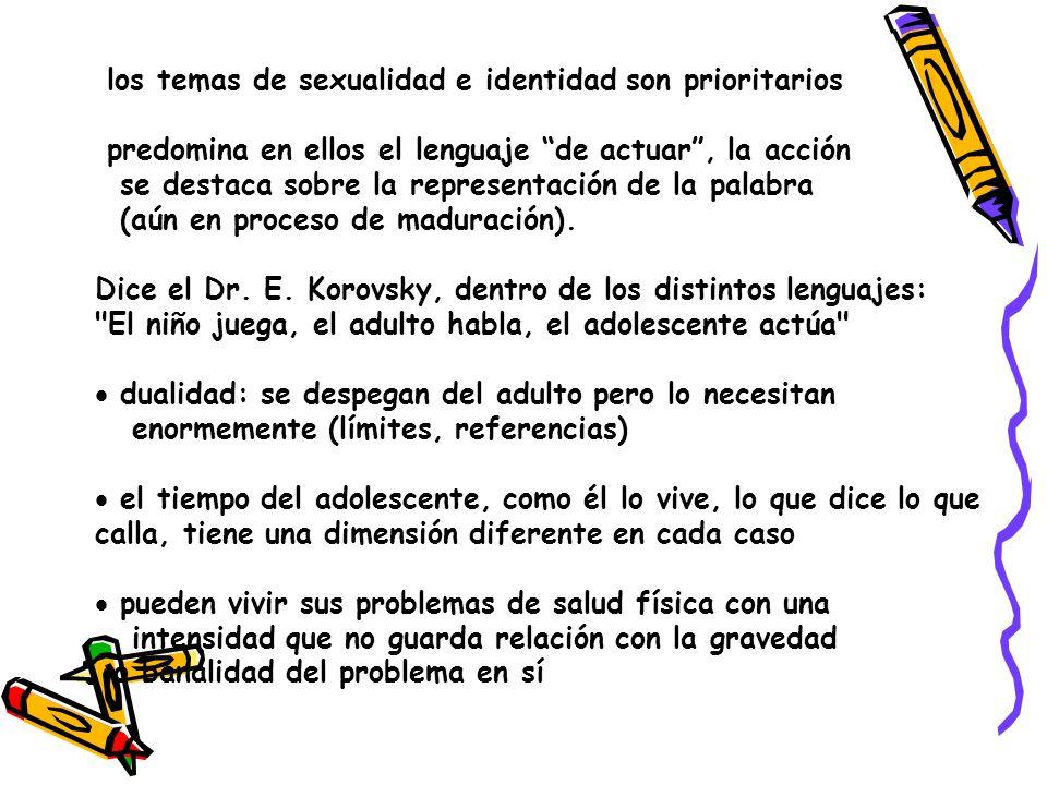los temas de sexualidad e identidad son prioritarios predomina en ellos el lenguaje de actuar, la acción se destaca sobre la representación de la palabra (aún en proceso de maduración).