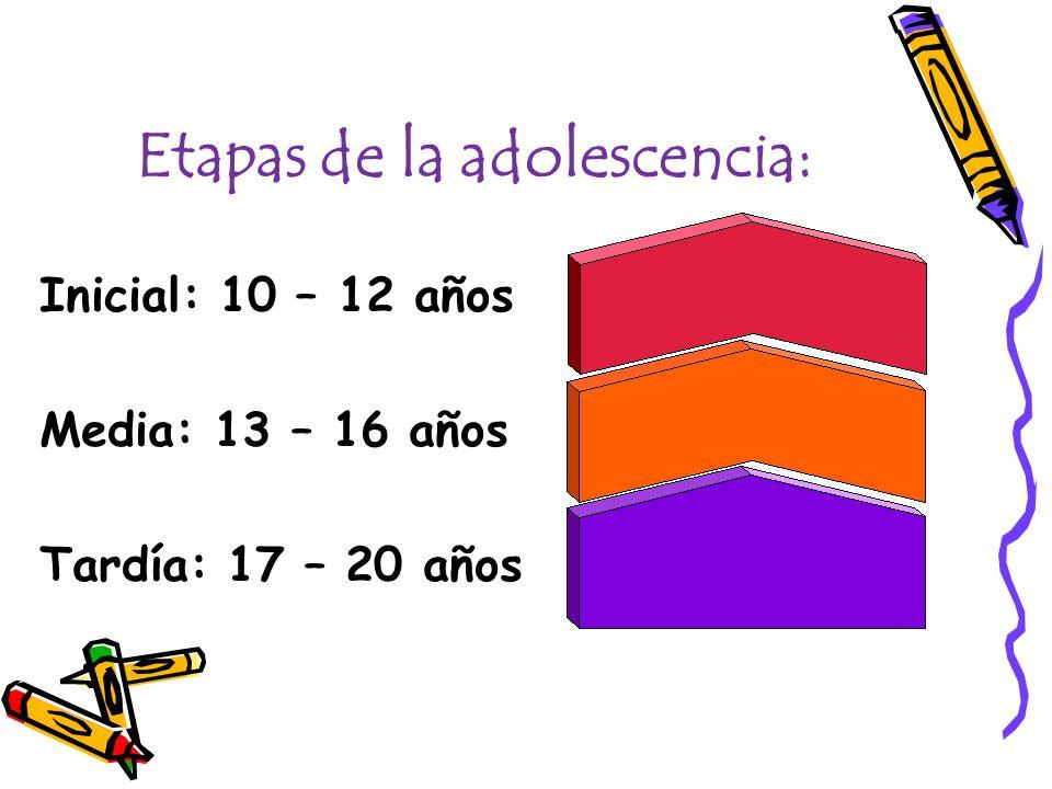 Etapas de la adolescencia: Inicial: 10 – 12 años Media: 13 – 16 años Tardía: 17 – 20 años