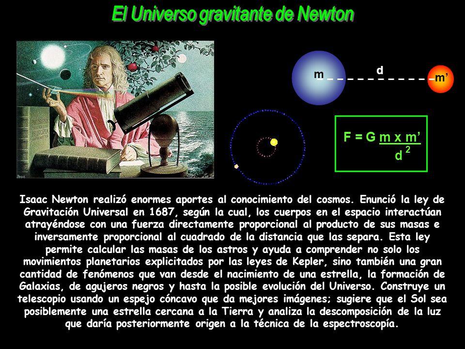 Isaac Newton realizó enormes aportes al conocimiento del cosmos. Enunció la ley de Gravitación Universal en 1687, según la cual, los cuerpos en el esp