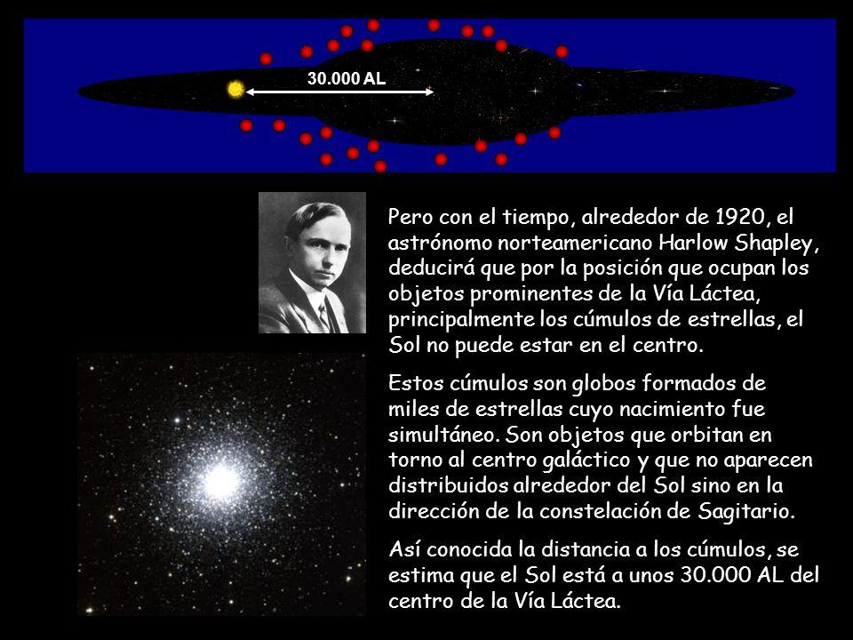 Pero con el tiempo, alrededor de 1920, el astrónomo norteamericano Harlow Shapley, deducirá que por la posición que ocupan los objetos prominentes de