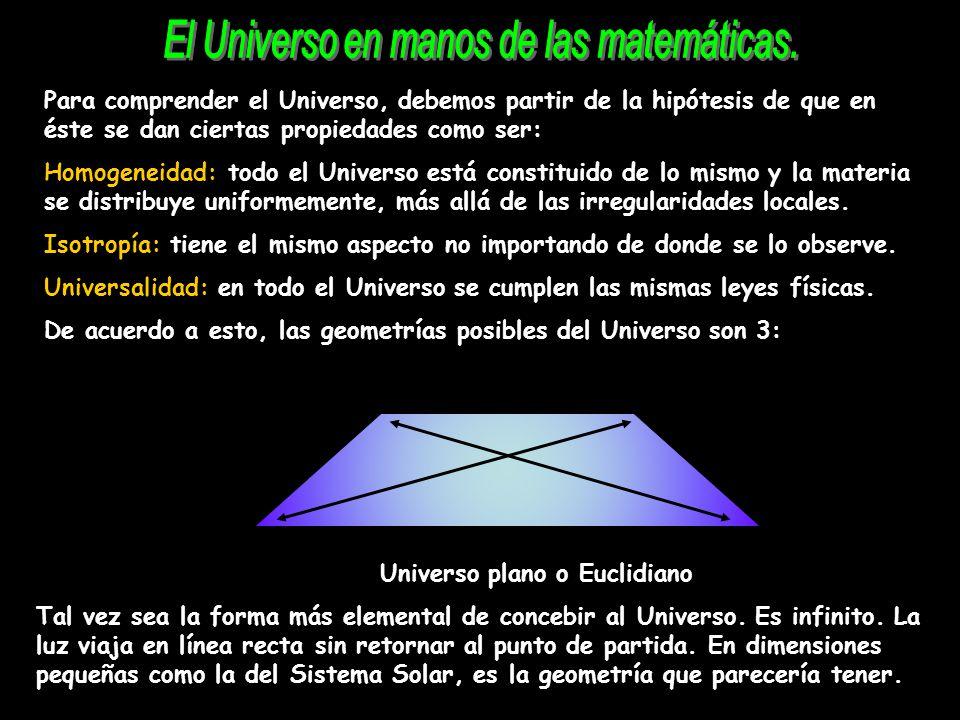 Para comprender el Universo, debemos partir de la hipótesis de que en éste se dan ciertas propiedades como ser: Homogeneidad: todo el Universo está co