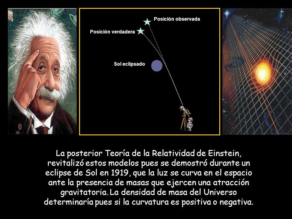 La posterior Teoría de la Relatividad de Einstein, revitalizó estos modelos pues se demostró durante un eclipse de Sol en 1919, que la luz se curva en