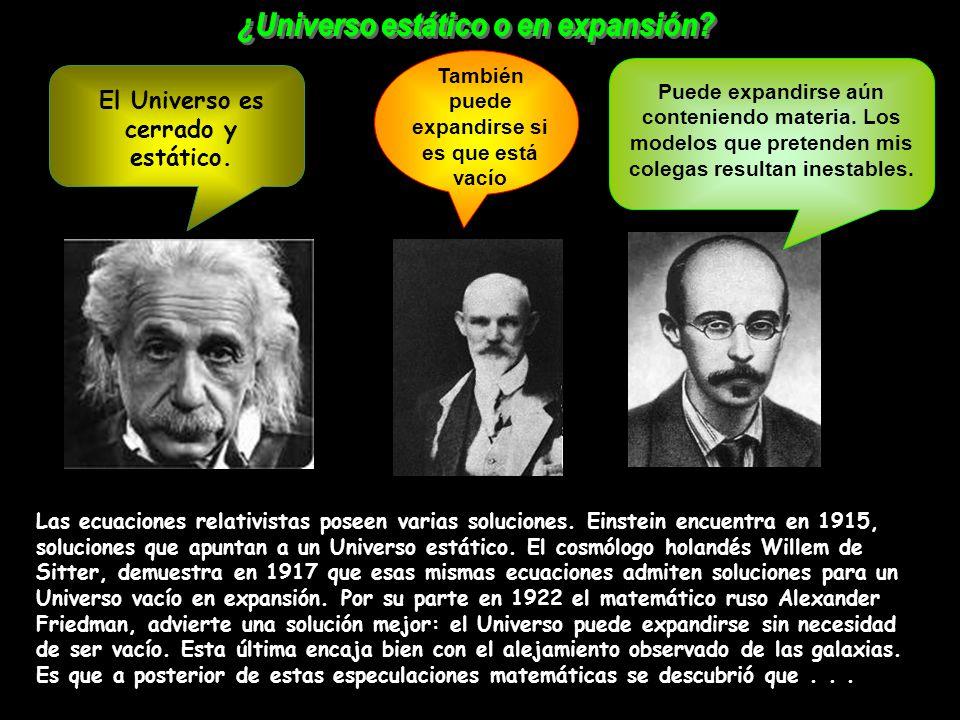 Las ecuaciones relativistas poseen varias soluciones. Einstein encuentra en 1915, soluciones que apuntan a un Universo estático. El cosmólogo holandés