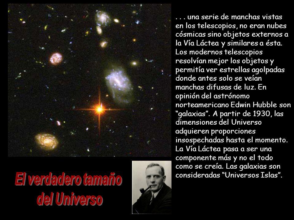 ... una serie de manchas vistas en los telescopios, no eran nubes cósmicas sino objetos externos a la Vía Láctea y similares a ésta. Los modernos tele