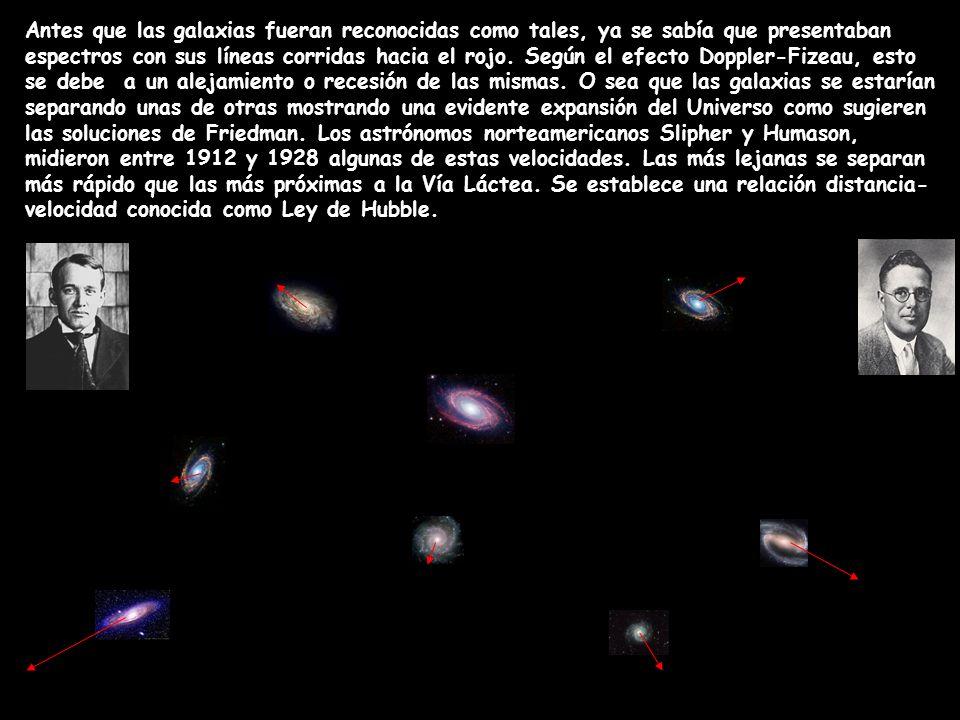 Antes que las galaxias fueran reconocidas como tales, ya se sabía que presentaban espectros con sus líneas corridas hacia el rojo. Según el efecto Dop