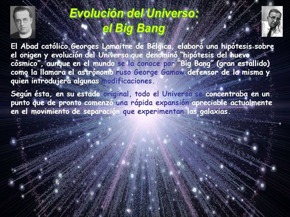 El Abad católico Georges Lamaitre de Bélgica, elaboró una hipótesis sobre el origen y evolución del Universo que denominó hipótesis del huevo cósmico,