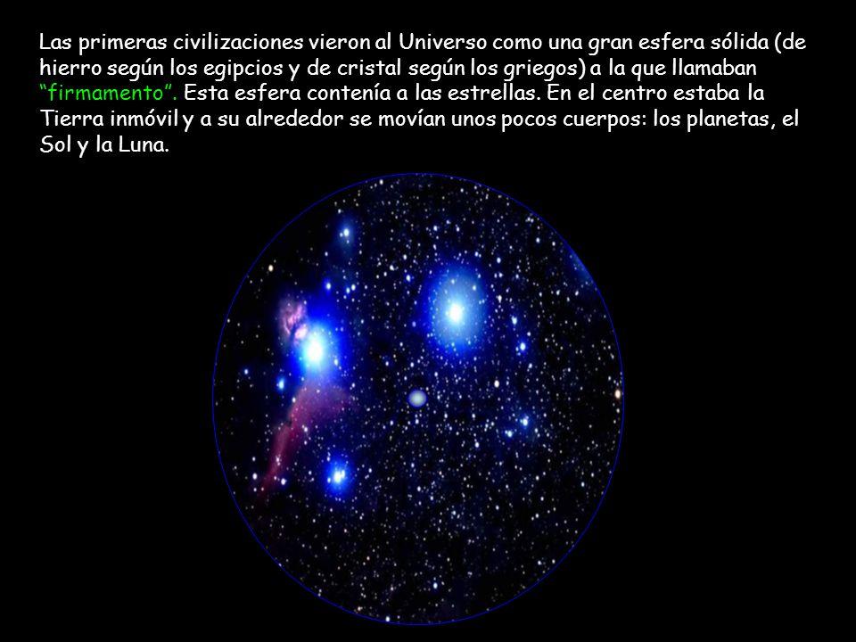 Las primeras civilizaciones vieron al Universo como una gran esfera sólida (de hierro según los egipcios y de cristal según los griegos) a la que llam