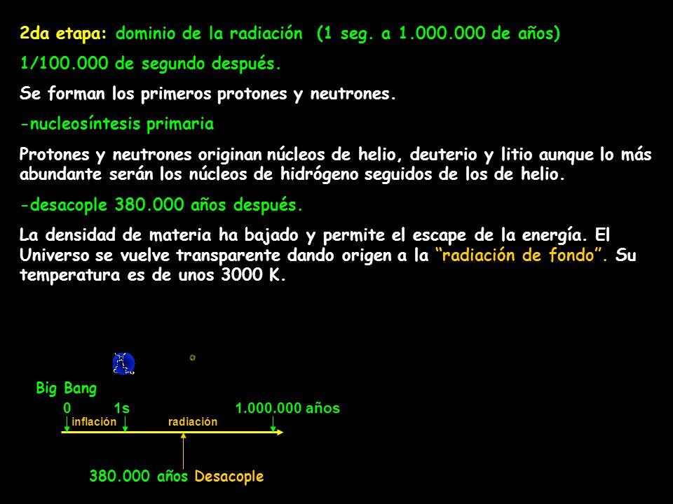 2da etapa: dominio de la radiación (1 seg. a 1.000.000 de años) 1/100.000 de segundo después. Se forman los primeros protones y neutrones. -nucleosínt
