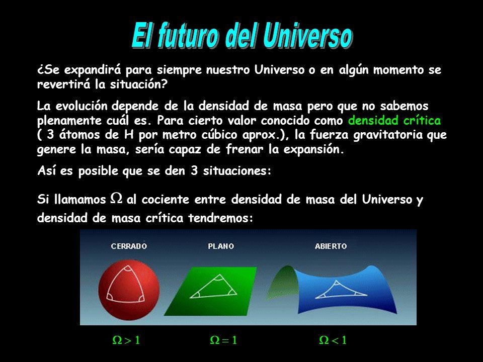 ¿Se expandirá para siempre nuestro Universo o en algún momento se revertirá la situación? La evolución depende de la densidad de masa pero que no sabe