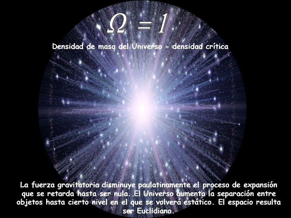 Densidad de masa del Universo = densidad crítica La fuerza gravitatoria disminuye paulatinamente el proceso de expansión que se retarda hasta ser nula