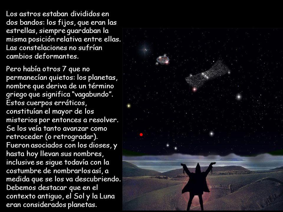 Los astros estaban divididos en dos bandos: los fijos, que eran las estrellas, siempre guardaban la misma posición relativa entre ellas. Las constelac
