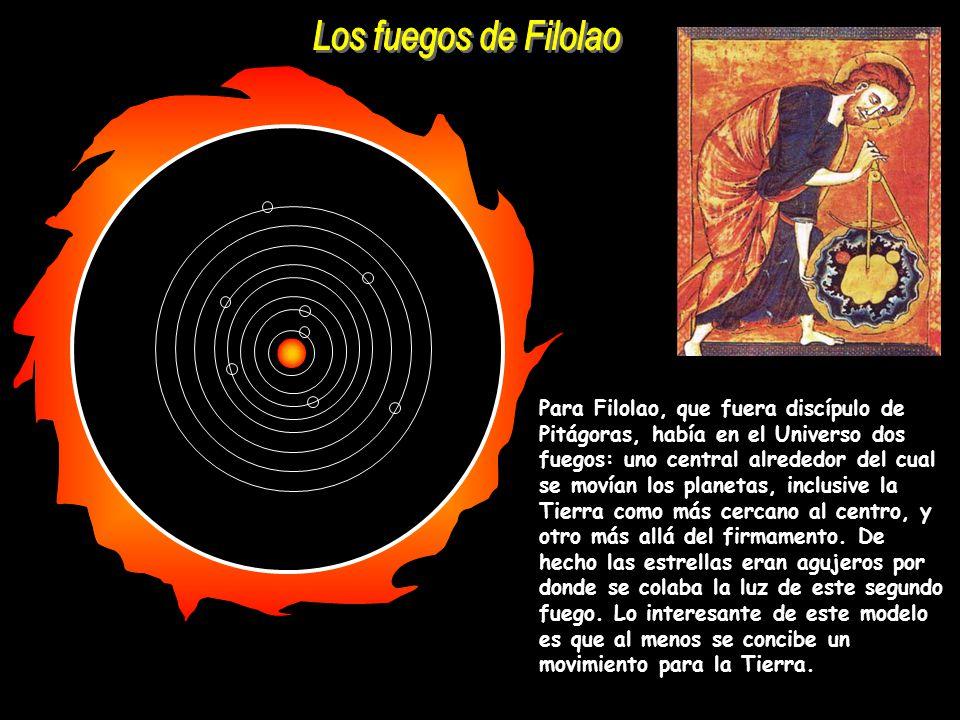Para Filolao, que fuera discípulo de Pitágoras, había en el Universo dos fuegos: uno central alrededor del cual se movían los planetas, inclusive la T