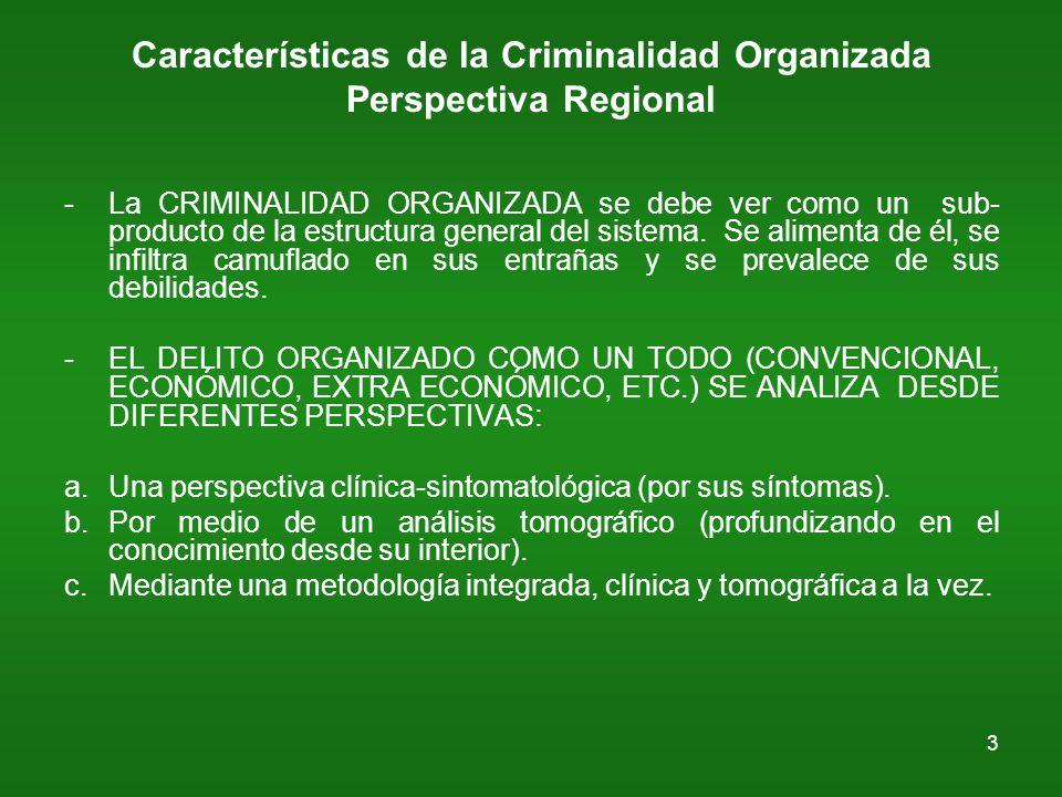 3 Características de la Criminalidad Organizada Perspectiva Regional -La CRIMINALIDAD ORGANIZADA se debe ver como un sub- producto de la estructura general del sistema.