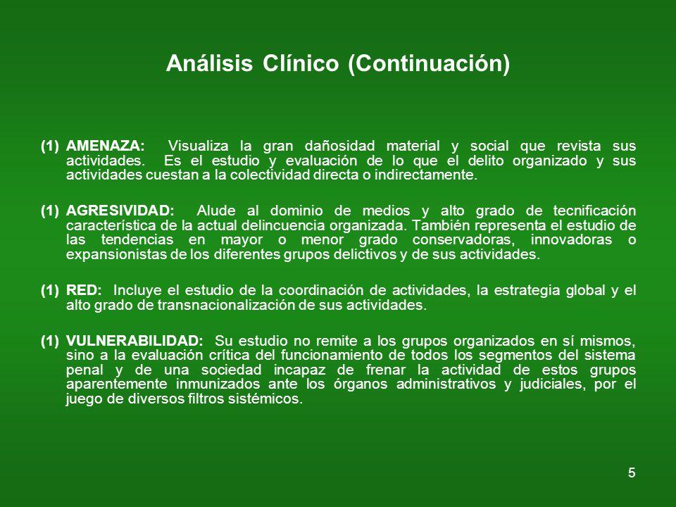 5 Análisis Clínico (Continuación) (1)AMENAZA: Visualiza la gran dañosidad material y social que revista sus actividades.