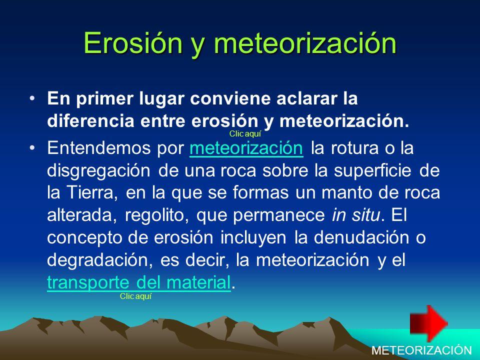 Erosión y meteorización En primer lugar conviene aclarar la diferencia entre erosión y meteorización.