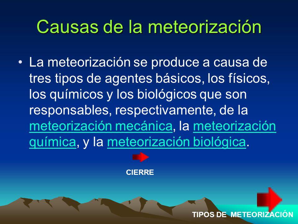 Causas de la meteorización La meteorización se produce a causa de tres tipos de agentes básicos, los físicos, los químicos y los biológicos que son responsables, respectivamente, de la meteorización mecánica, la meteorización química, y la meteorización biológica.