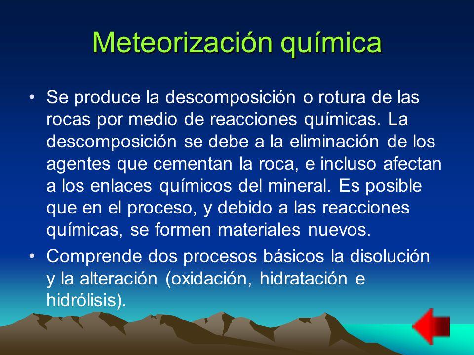 Meteorización química Se produce la descomposición o rotura de las rocas por medio de reacciones químicas.