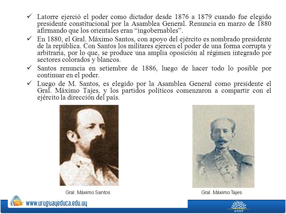 Latorre ejerció el poder como dictador desde 1876 a 1879 cuando fue elegido presidente constitucional por la Asamblea General. Renuncia en marzo de 18