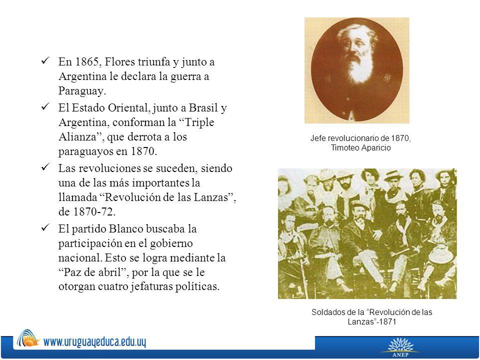 En 1865, Flores triunfa y junto a Argentina le declara la guerra a Paraguay. El Estado Oriental, junto a Brasil y Argentina, conforman la Triple Alian