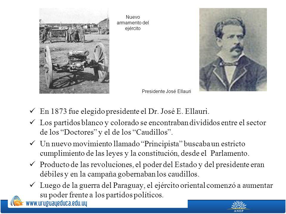 En 1873 fue elegido presidente el Dr. José E. Ellauri. Los partidos blanco y colorado se encontraban divididos entre el sector de los Doctores y el de