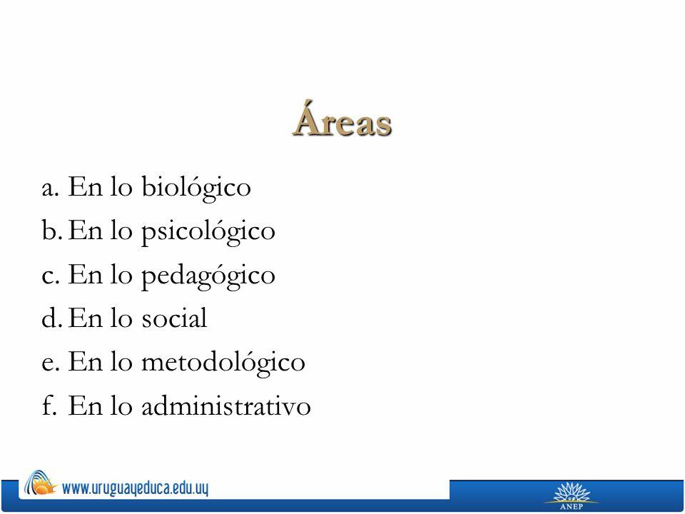 Áreas a.En lo biológico b.En lo psicológico c.En lo pedagógico d.En lo social e.En lo metodológico f.En lo administrativo