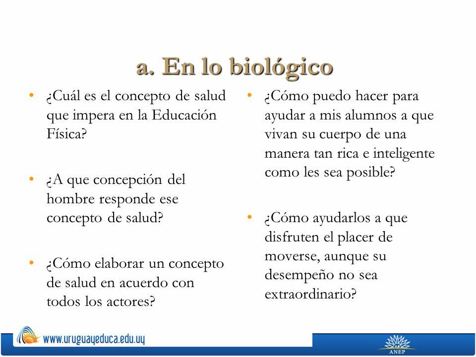 a. En lo biológico ¿Cuál es el concepto de salud que impera en la Educación Física?¿Cuál es el concepto de salud que impera en la Educación Física? ¿A
