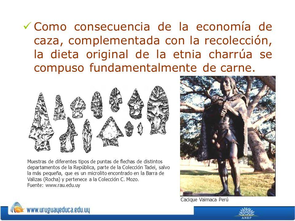 Como consecuencia de la economía de caza, complementada con la recolección, la dieta original de la etnia charrúa se compuso fundamentalmente de carne