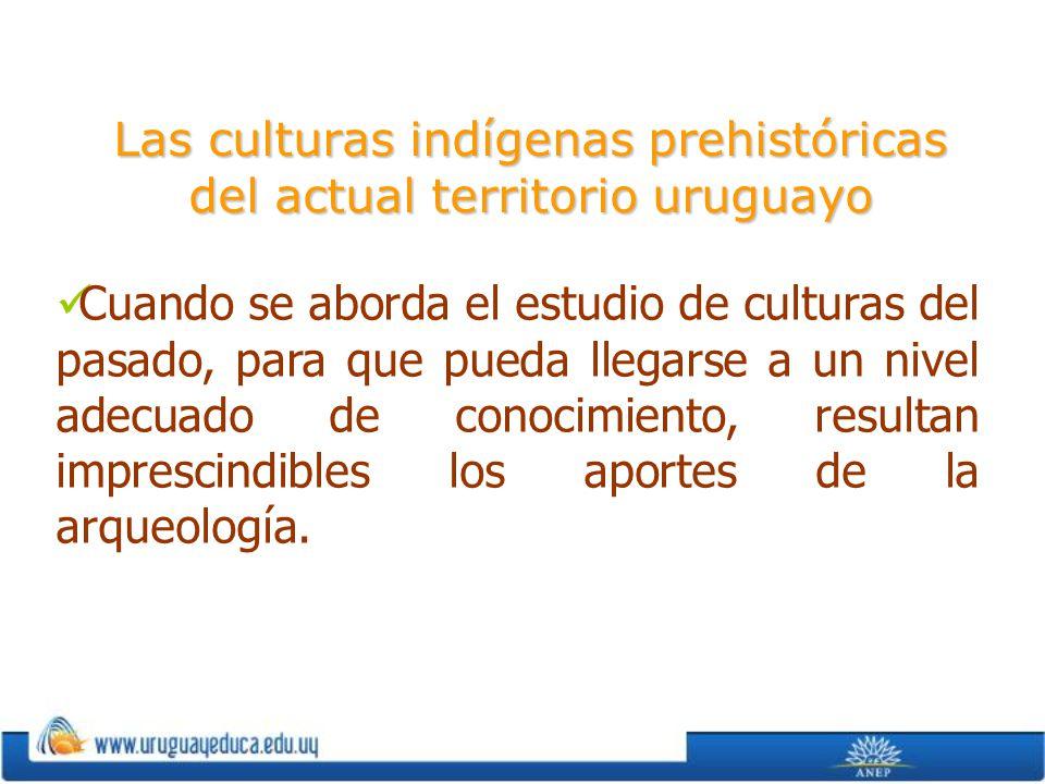 Las culturas indígenas prehistóricas del actual territorio uruguayo Cuando se aborda el estudio de culturas del pasado, para que pueda llegarse a un n