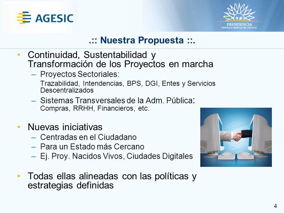 4 Continuidad, Sustentabilidad y Transformación de los Proyectos en marcha –Proyectos Sectoriales: Trazabilidad, Intendencias, BPS, DGI, Entes y Servicios Descentralizados –Sistemas Transversales de la Adm.