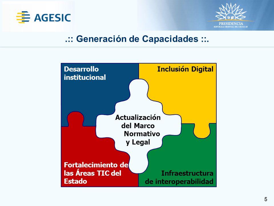 5 Inclusión Digital Infraestructura de interoperabilidad Fortalecimiento de las Áreas TIC del Estado Desarrollo institucional Actualización del Marco Normativo y Legal.:: Generación de Capacidades ::.