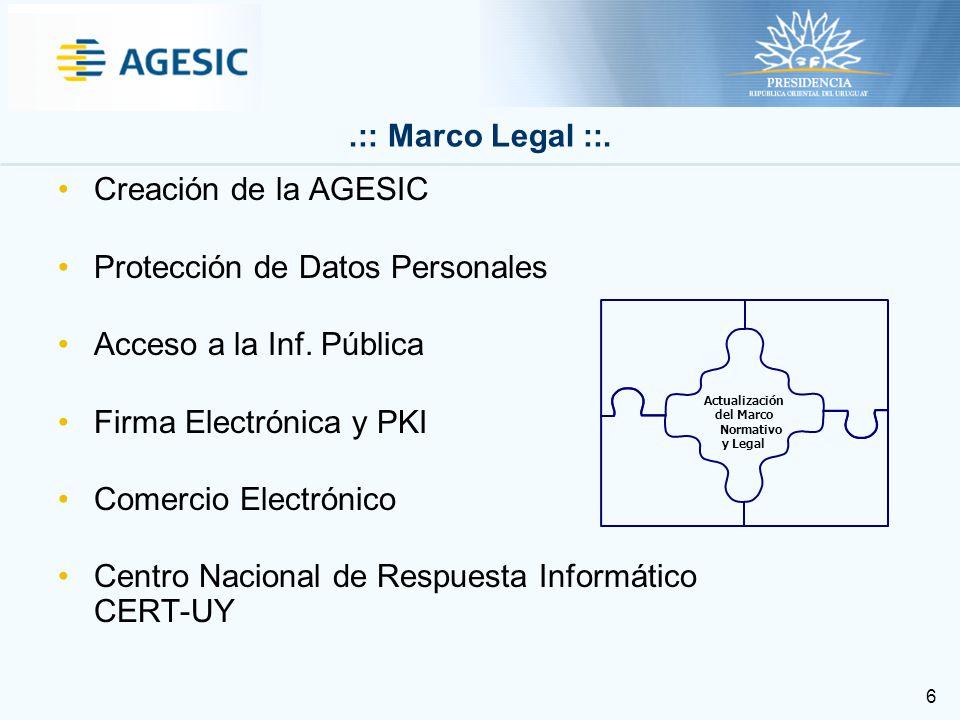 6 Creación de la AGESIC Protección de Datos Personales Acceso a la Inf.