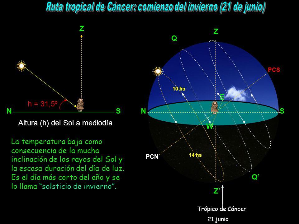 Z N S h = 31,5º NS Z E W PCS PCN Q Q 10 hs 14 hs La temperatura baja como consecuencia de la mucha inclinación de los rayos del Sol y la escasa duración del día de luz.