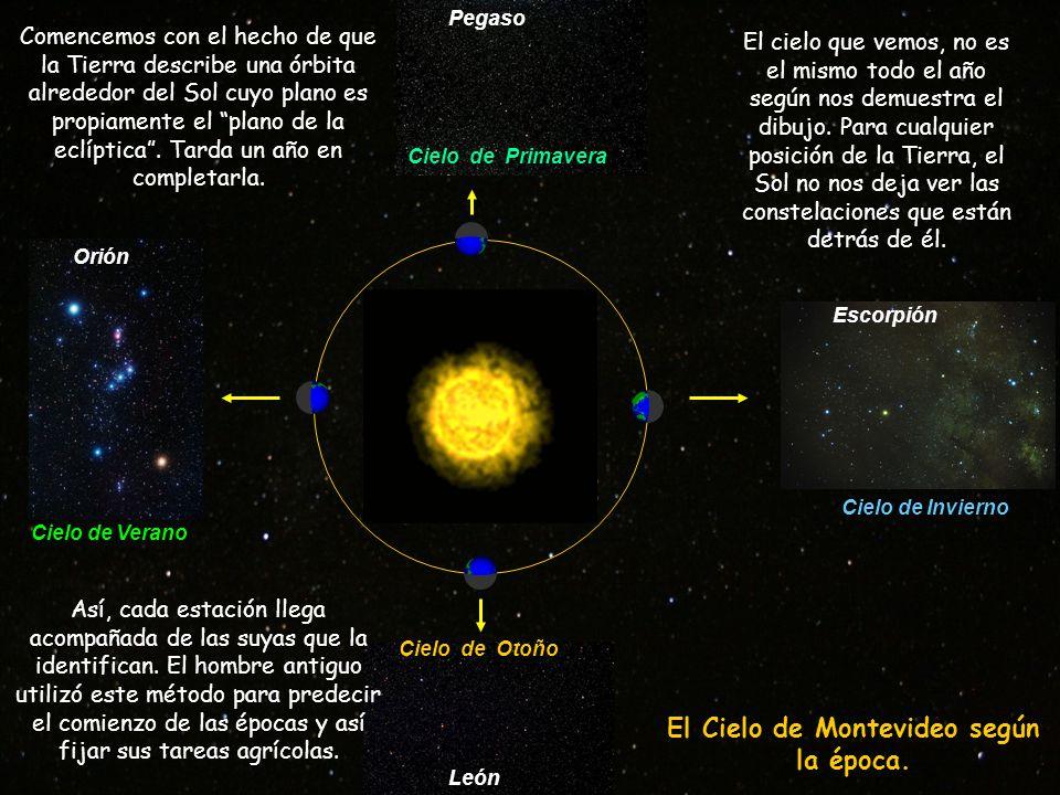 Pegaso Orión León Escorpión Cielo de Primavera Cielo de Otoño Cielo de Verano Cielo de Invierno Así, cada estación llega acompañada de las suyas que la identifican.