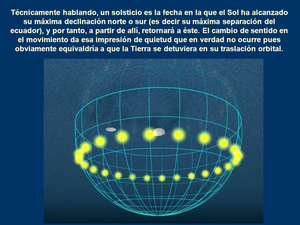 Técnicamente hablando, un solsticio es la fecha en la que el Sol ha alcanzado su máxima declinación norte o sur (es decir su máxima separación del ecu