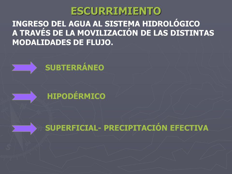 ESCURRIMIENTO INGRESO DEL AGUA AL SISTEMA HIDROLÓGICO A TRAVÉS DE LA MOVILIZACIÓN DE LAS DISTINTAS MODALIDADES DE FLUJO. SUBTERRÁNEO HIPODÉRMICO SUPER