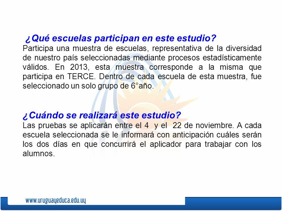 ¿Qué escuelas participan en este estudio? Participa una muestra de escuelas, representativa de la diversidad de nuestro país seleccionadas mediante pr