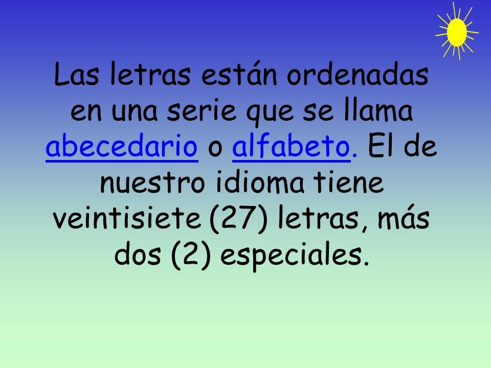 Las letras están ordenadas en una serie que se llama abecedario o alfabeto. El de nuestro idioma tiene veintisiete (27) letras, más dos (2) especiales
