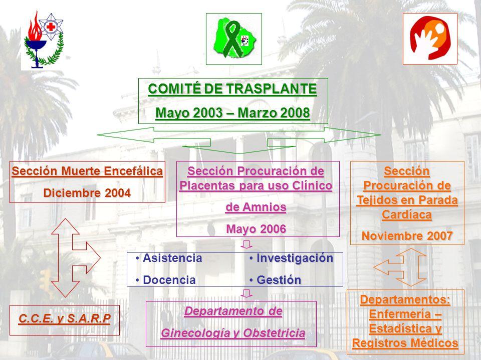 COMITÉ DE TRASPLANTE Mayo 2003 – Marzo 2008 Sección Muerte Encefálica Diciembre 2004 Asistencia Docencia Investigación Investigación Gestión Gestión C