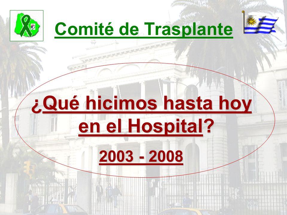 Comité de Trasplante ¿Qué hicimos hasta hoy en el Hospital? 2003 - 2008