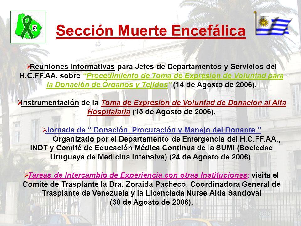 Sección Muerte Encefálica Reuniones Informativas para Jefes de Departamentos y Servicios del H.C.FF.AA. sobre Procedimiento de Toma de Expresión de Vo