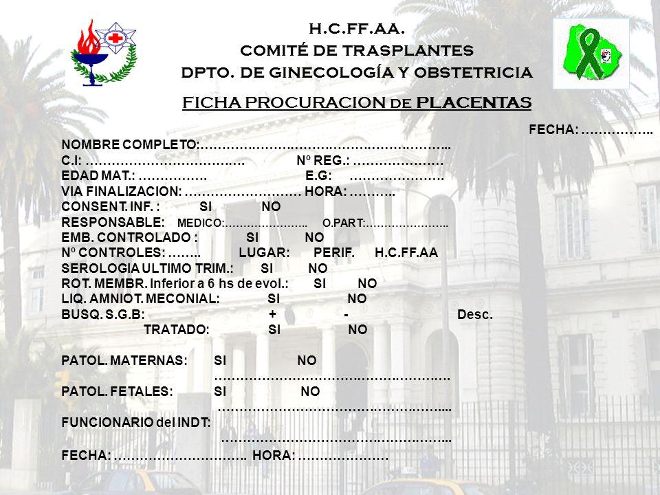 h.c.ff.aa. comité de trasplantes dpto. de ginecología y obstetricia FICHA PROCURACION de PLACENTAS FECHA: …………….. NOMBRE COMPLETO:………………………………………………….