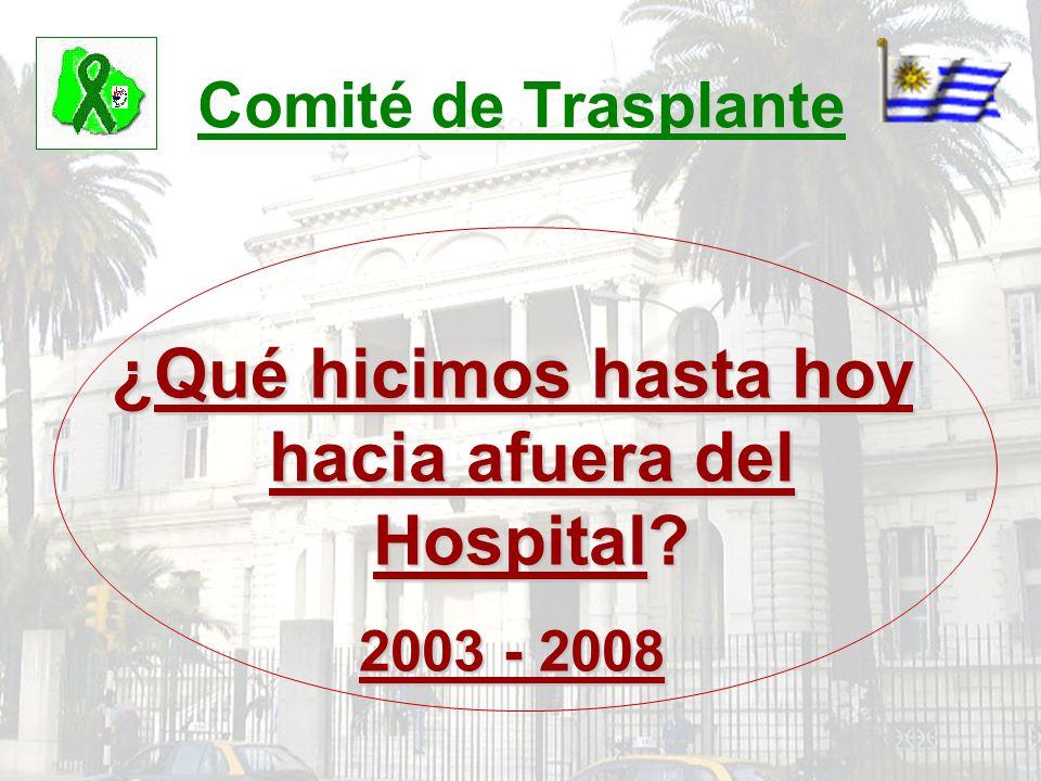Comité de Trasplante ¿Qué hicimos hasta hoy hacia afuera del Hospital? 2003 - 2008