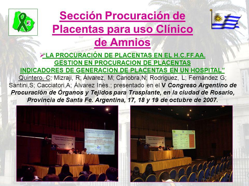 Sección Procuración de Placentas para uso Clínico de Amnios LA PROCURACIÓN DE PLACENTAS EN EL H.C.FF.AA. GESTION EN PROCURACION DE PLACENTAS INDICADOR