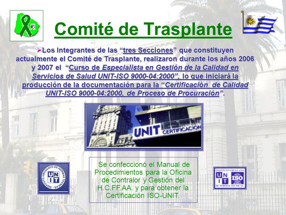 Comité de Trasplante Los Integrantes de las tres Secciones que constituyen actualmente el Comité de Trasplante, realizaron durante los años 2006 y 200