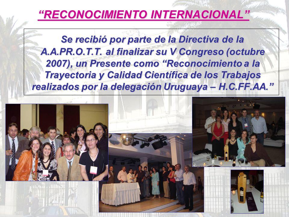 Se recibió por parte de la Directiva de la A.A.PR.O.T.T. al finalizar su V Congreso (octubre 2007), un Presente como Reconocimiento a la Trayectoria y