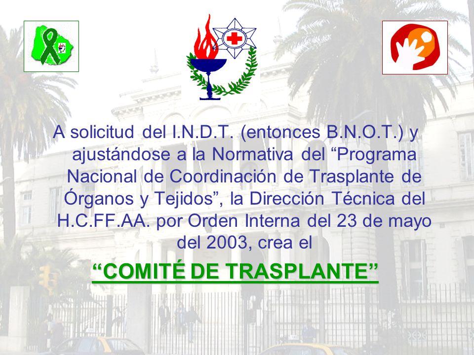 A solicitud del I.N.D.T. (entonces B.N.O.T.) y ajustándose a la Normativa del Programa Nacional de Coordinación de Trasplante de Órganos y Tejidos, la