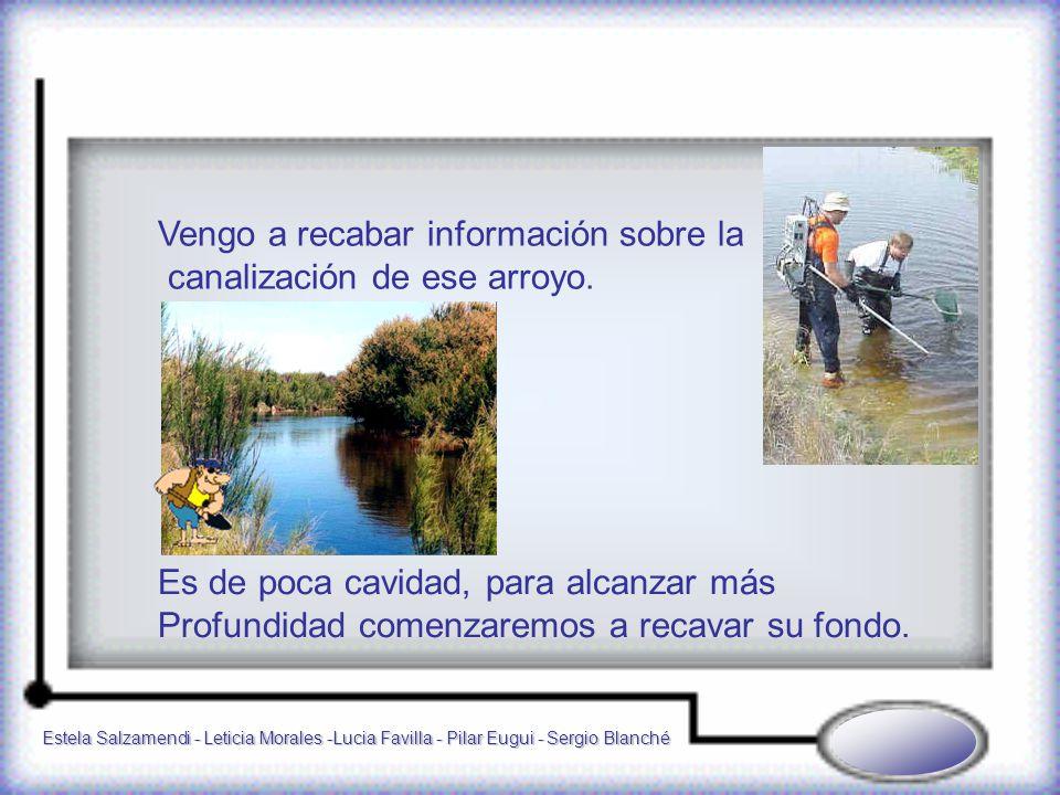 Estela Salzamendi - Leticia Morales -Lucia Favilla - Pilar Eugui - Sergio Blanché Vengo a recabar información sobre la canalización de ese arroyo.