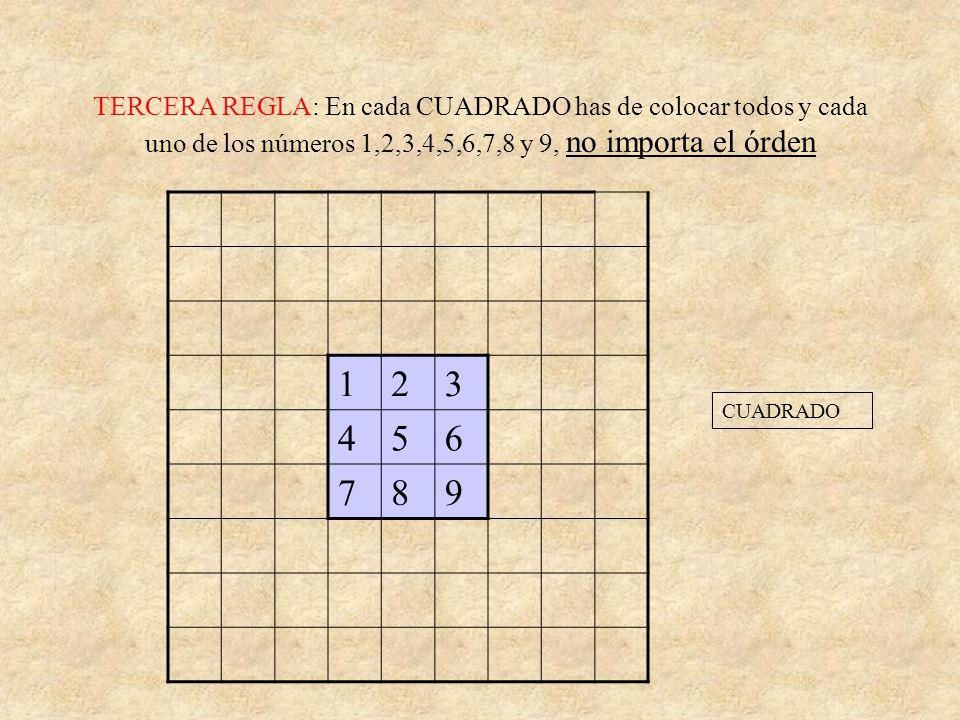 SEGUNDA REGLA: En cada COLUMNA has de colocar todos y cada uno de los números 1,2,3,4,5,6,7,8 y 9, no importa el órden 1 2 3 4 5 6 7 8 9 COLUMNACOLUMN