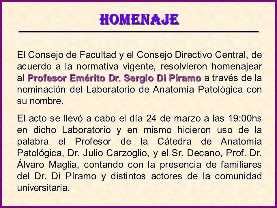 CONTENIDO Homenaje al Profesor Emérito Dr. Sergio Di Píramo.
